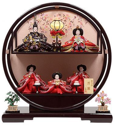 雛人形 二段 五人飾り 三人官女付 変形 丸型